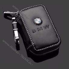 Ключница BMW (БМВ) с логотипом, кожаный чехол для ключей автосигнализации