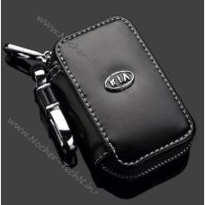 Кожаный чехол для ключей KIA (КИА), ключница автомобильная с логотипом