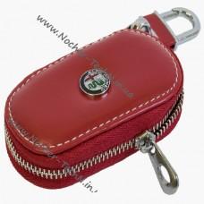 Ключница Альфа Ромео (Alfa Romeo) для ключа автосигнализации, кожаный чехол с авто логотипом