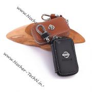 Кожаный чехол для ключа Ниссан (Nissan), ключница автомобильная с логотипом