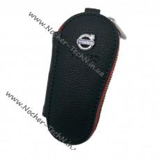 Кожаный чехол-ключница для ключа сигнализации с логотипом Вольво (Volvo) серия безконтакта